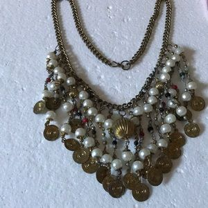 Antique multi beads brass necklace